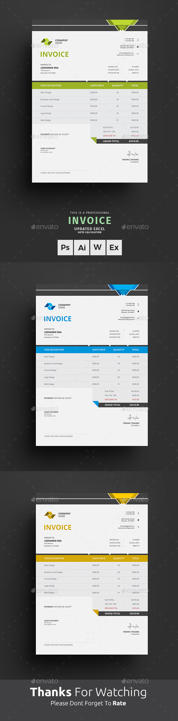 Invoice Excel - Proposals & Invoices Stationery