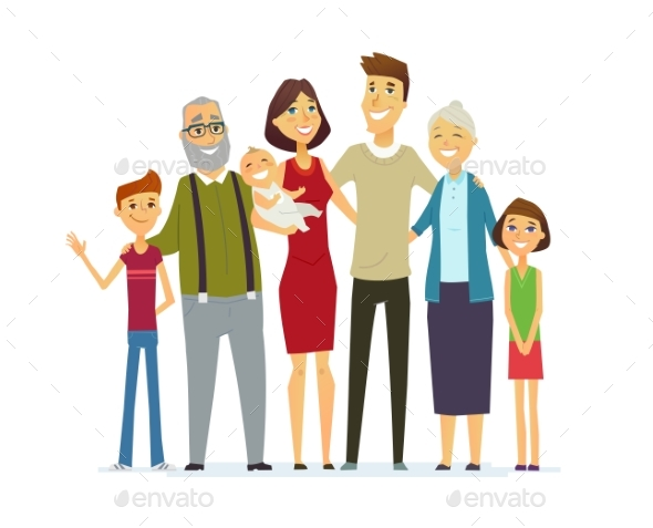 Family - Coloured Modern Flat Illustrative - People Characters