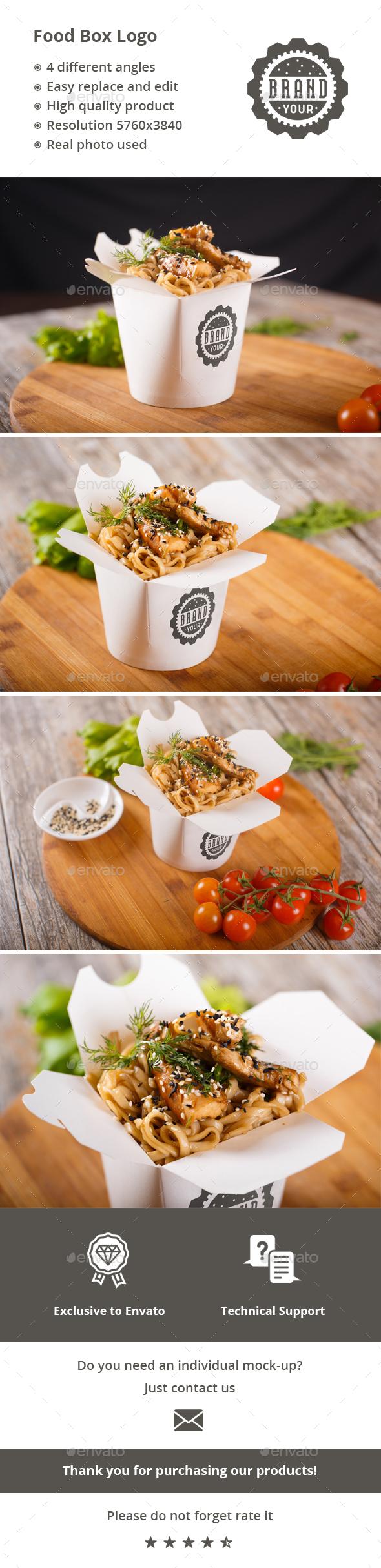 Food Box Logo Mock-up - Logo Product Mock-Ups