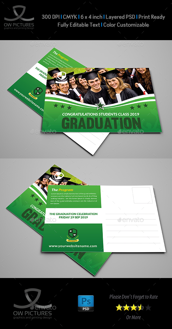 Graduation Postcard Template - Cards & Invites Print Templates