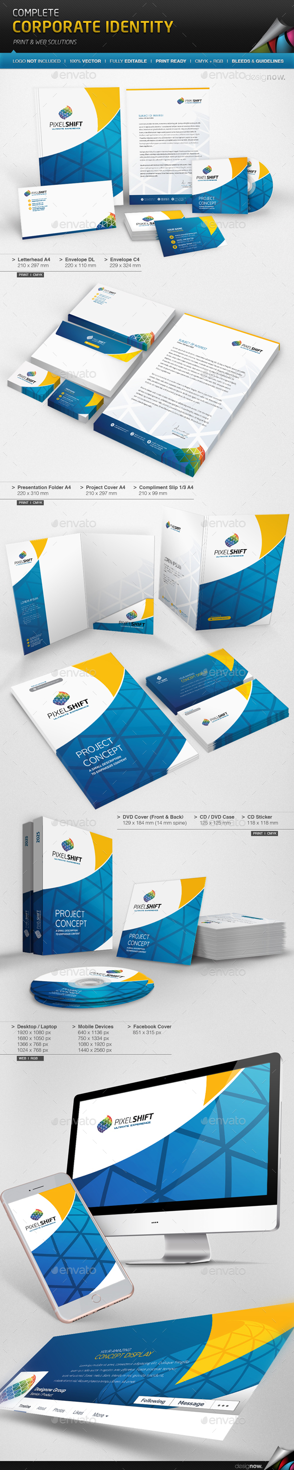 Corporate Identity - Pixel Shift - Stationery Print Templates