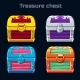 Cartoon Antique Treasure Chest in Different Colors - GraphicRiver Item for Sale