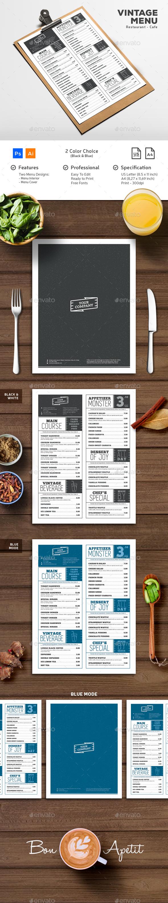 Vintage Typography Menu - Food Menus Print Templates