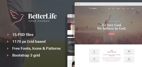 BetterLife – Church & Religious PSD template