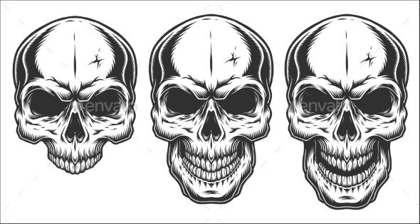 Monochrome Illustration of Skull - Tattoos Vectors