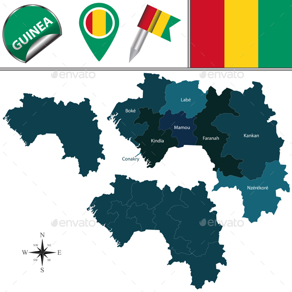 Map of Guinea with Named Regions - Travel Conceptual