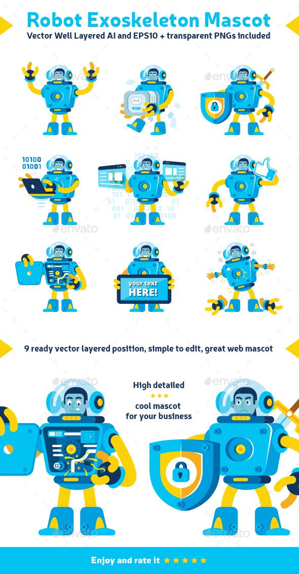 Robot Exoskeleton Mascot - People Characters