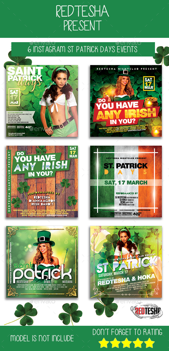 6 Instagram Saint Patrick Days Events - Banners & Ads Web Elements
