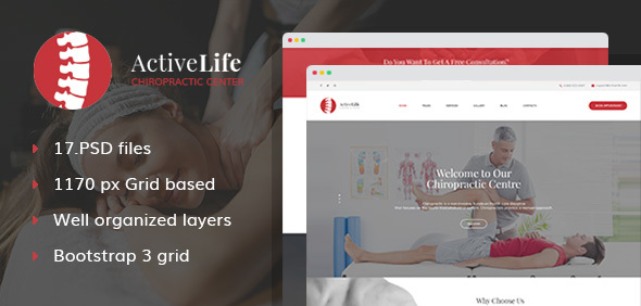Active Life – Chiropractors, Spa and Massage Salon PSD Template