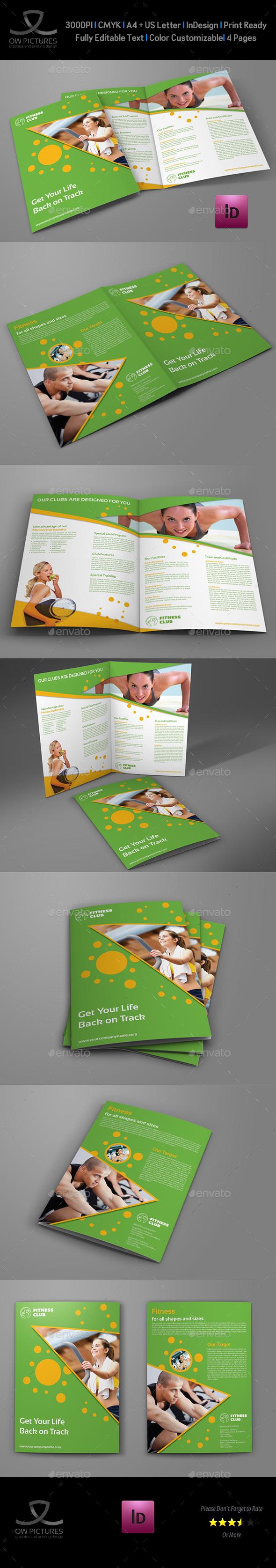 Fitness - GYM Bi-Fold Brochure Template - Brochures Print Templates