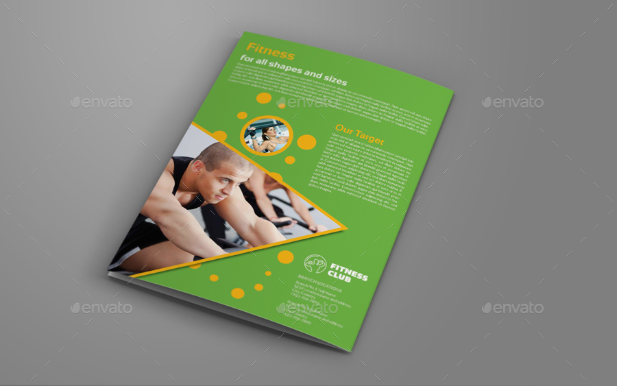 Fitness GYM BiFold Brochure Template By OWPictures GraphicRiver - Fold brochure template