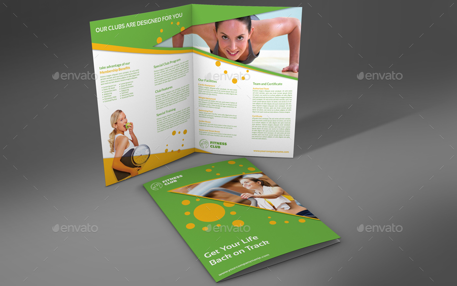 Fitness - Gym Bi-Fold Brochure Template By Owpictures | Graphicriver