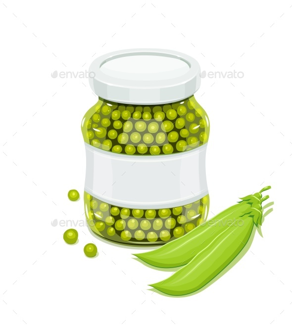 Glass Jar with Greeen Peas and Pods - Food Objects