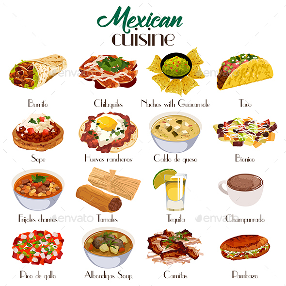 Mexican Cuisine Icons - Food Objects