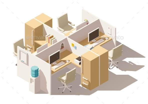 Isometric Low Poly Office Cubicle - Man-made Objects Objects
