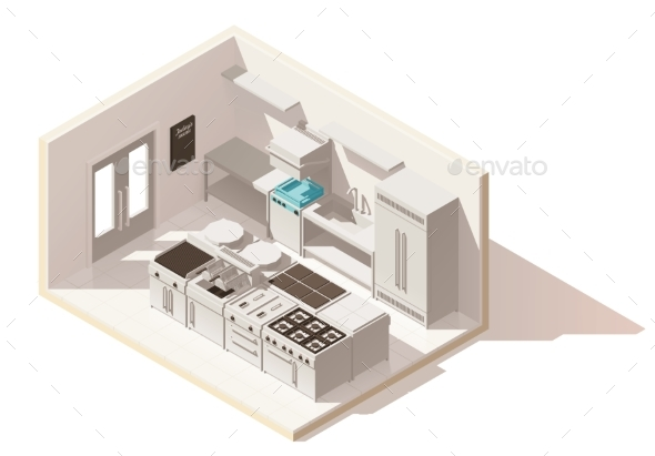 Vector Isometric Low Poly Professional Kitchen - Buildings Objects