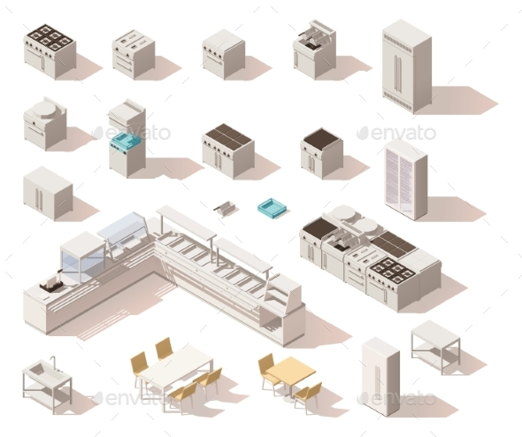 Vector Isometric Low Poly Restaurant Equipment - Man-made Objects Objects