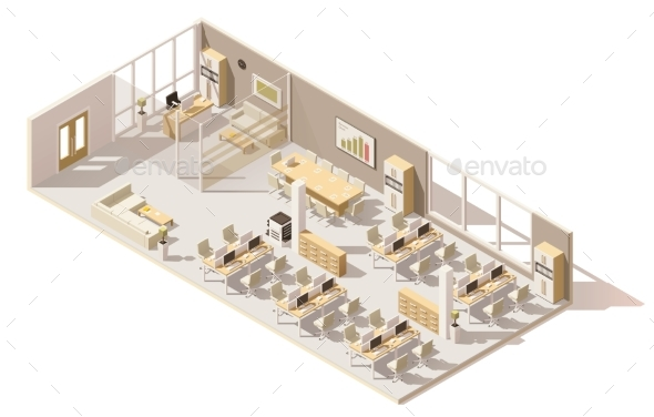 Vector Isometric Low Poly Office - Buildings Objects
