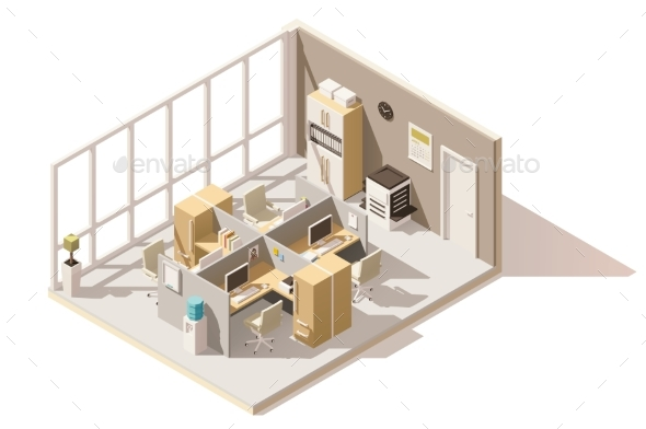 Vector Isometric Low Poly Office Room - Buildings Objects