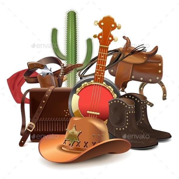 Vector Cowboy Concept with Banjo - Travel Conceptual
