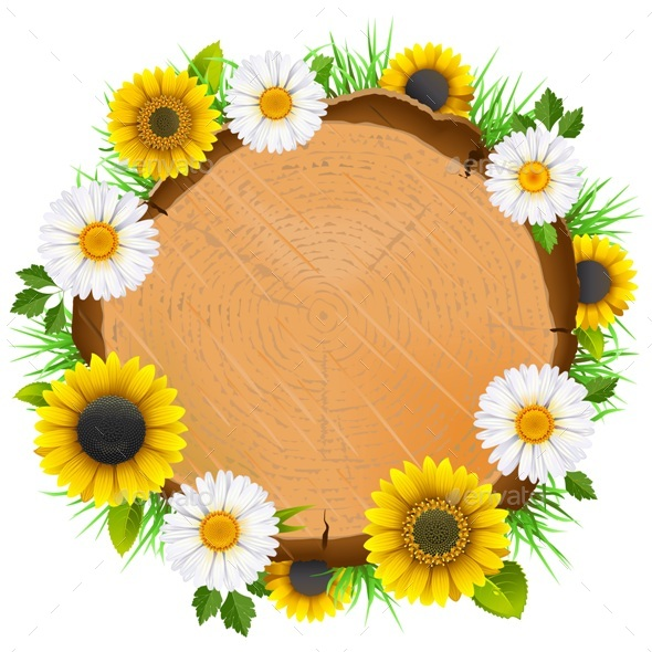 Vector Wooden Board with Flowers - Flowers & Plants Nature