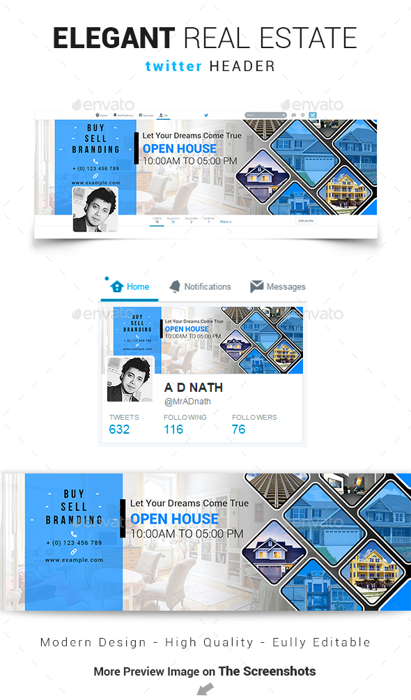Elegant Real Estate Twitter Header - Social Media Web Elements