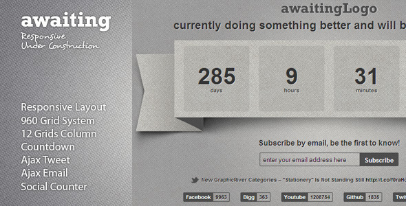 Awaiting – Responsive Under Construction Template