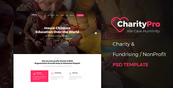 CharityPro – Charity & Fundraising PSD Template