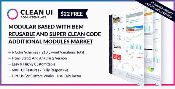 Clean UI Admin Template Modular + Trendy Design + Modules Market + BEM + Angular 2 + Visual Builder