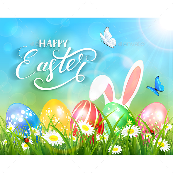 Happy Easter on Blue Background with Bunny and Eggs - Animals Characters
