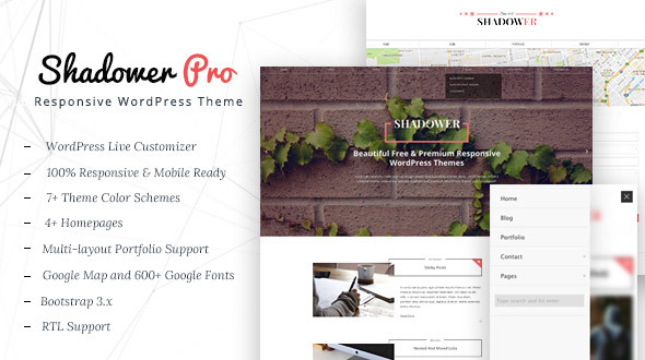 Shadower Pro – A Clean & Responsive WordPress Theme for Bloggers