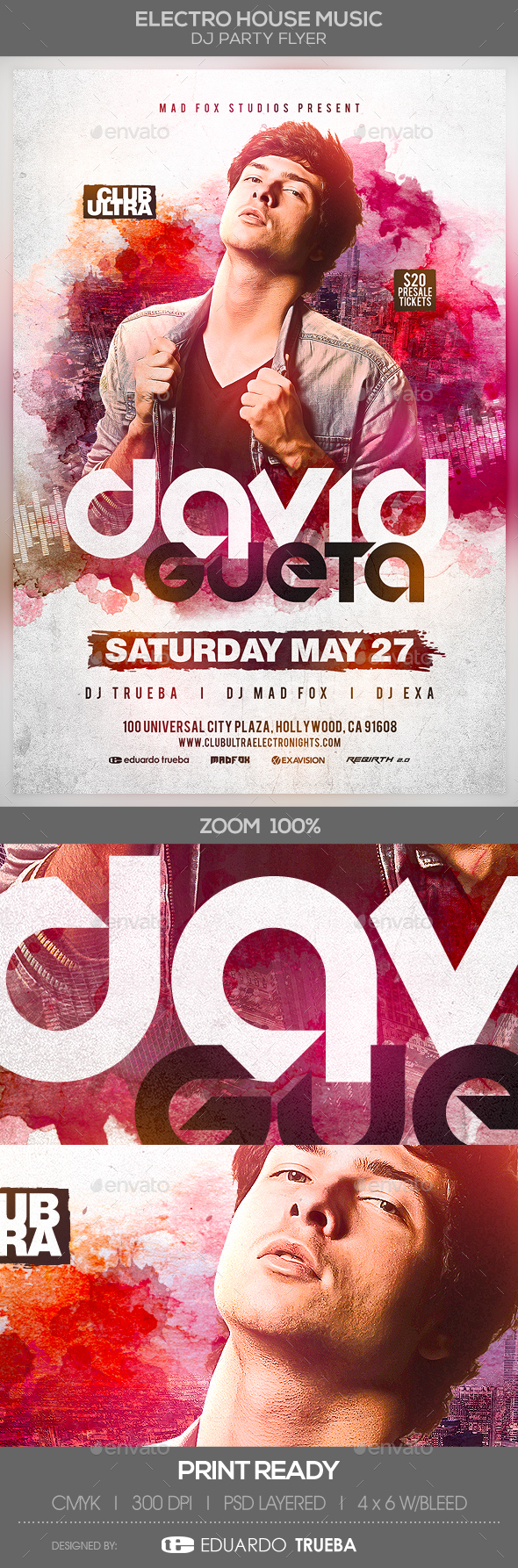 Electro House Music Dj Party Flyer - Clubs & Parties Events