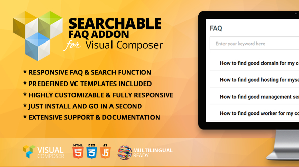 Searchable FAQ Addon for WPBakery Page Builder (formerly Visual Composer) - CodeCanyon Item for Sale