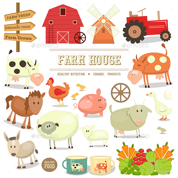 Farm Elements Collection - Animals Characters