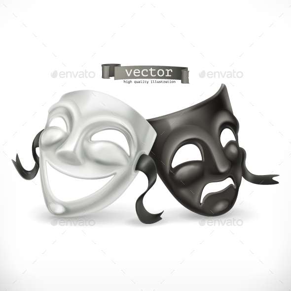Black and White Theatrical Masks - Miscellaneous Characters