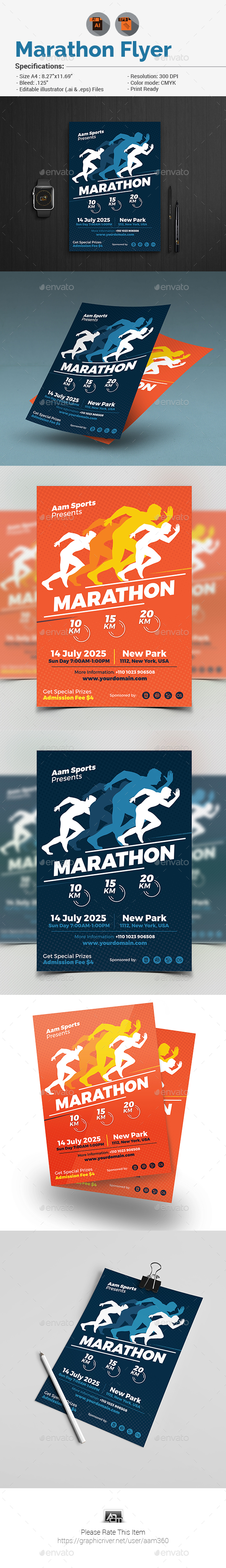 Marathon Event Flyer - Sports Events