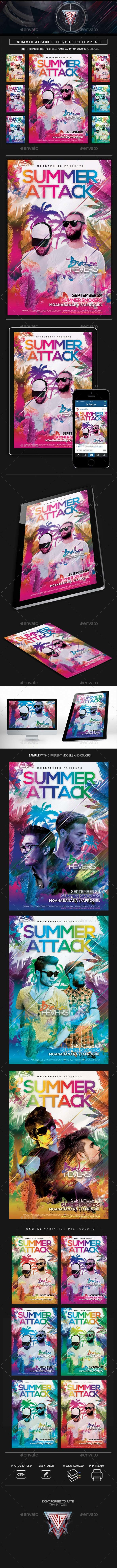 Summer Attack Flyer/ Poster Template - Events Flyers