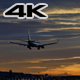 Commercial Aircraft Landing at Barcelona Airport at Sunset - VideoHive Item for Sale