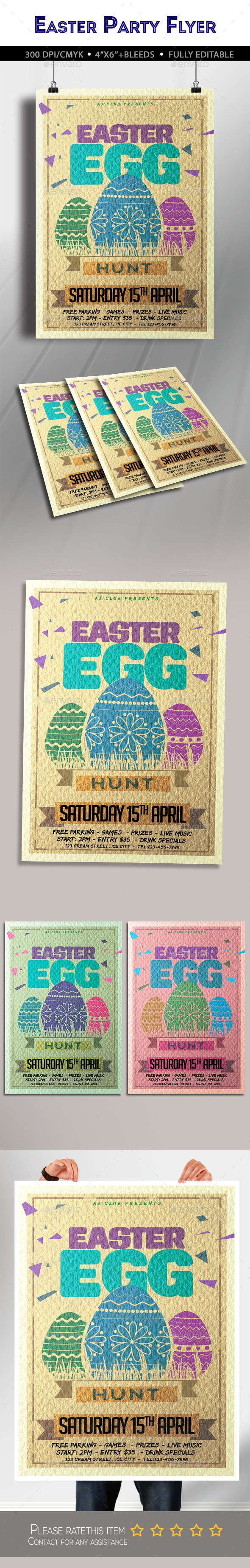 Easter Egg Hunt Party Flyer - Clubs & Parties Events
