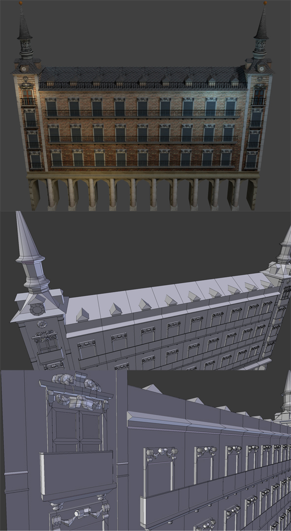 Spanish Building, Plaza (low poly) - 3DOcean Item for Sale