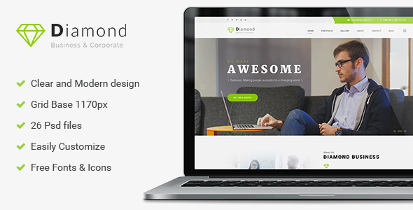 Diamond - Business & Consulting PSD Template - Business Corporate