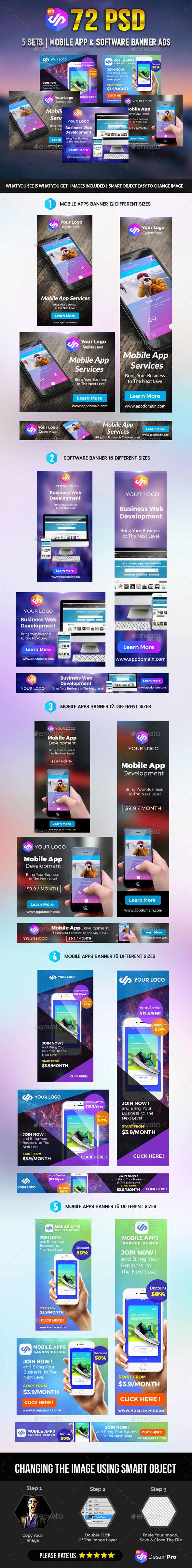 Mobile Apps Banner Pack - Banners & Ads Web Elements