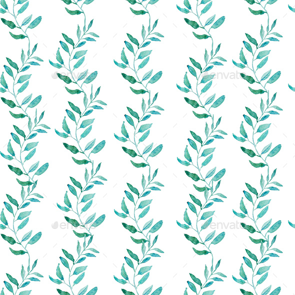 Seamless Pattern with Olive or Green Tea Leaves. - Backgrounds Decorative