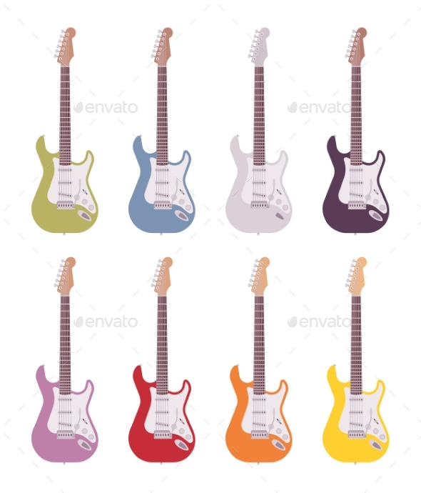 Set of Colored Electric Guitars - Man-made Objects Objects