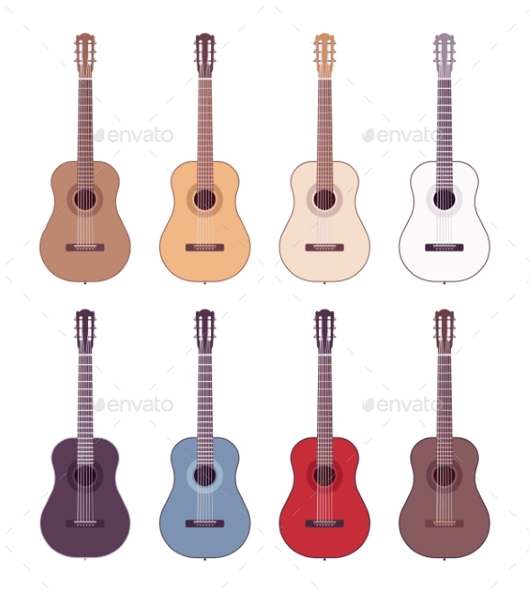 Set of Colored Acoustic Guitars - Man-made Objects Objects