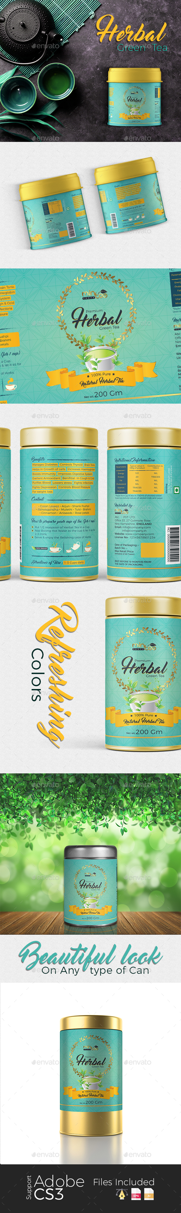 Herbal Green Tea Label - Packaging Print Templates