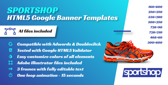 Sport Shop - HTML5 Google Banner Templates - CodeCanyon Item for Sale