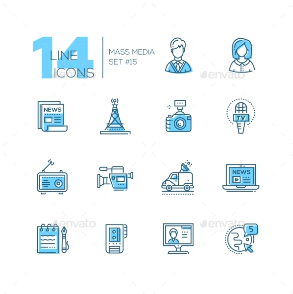 Mass Media - Modern Single Line Icons Set - Web Technology