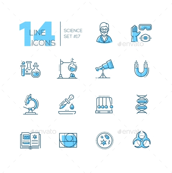 Science - Coloured Modern Single Line Icons Set - Web Technology