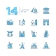 Landmarks - Coloured Modern Single Line Icons Set - GraphicRiver Item for Sale